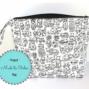 Large Project Bag, Knitting Project Bag,  Knitting Tote Bag, Yarn Bag, Cat Project Bag, Gift for Her, Craft Project Bag, Large Zipper Pouch