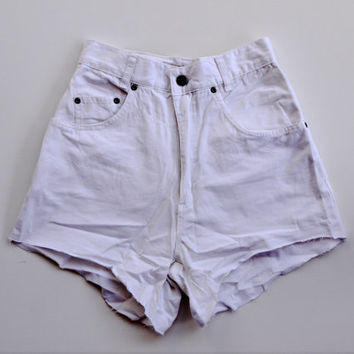 White Denim High Waisted Shorts