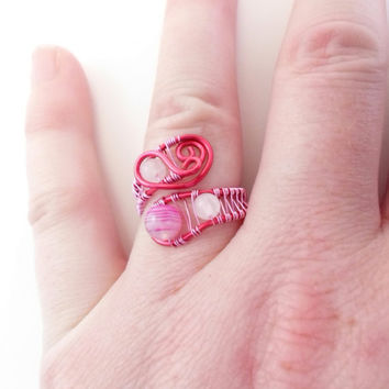 Agate, Rose Quartz and copper ring. Pink and Fuschia. Gemstone. Wire wraped, Adjustable.