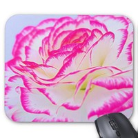 Glowing Pink And White Rose Mousepad