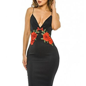 Black Deep V-Neck Floral Embroidered Crisscross Midi Dress