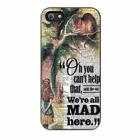 art print alice in wonderland cheshire cat were all mad here cases for iphone se 5 5s 5c 4 4s 6 6s plus
