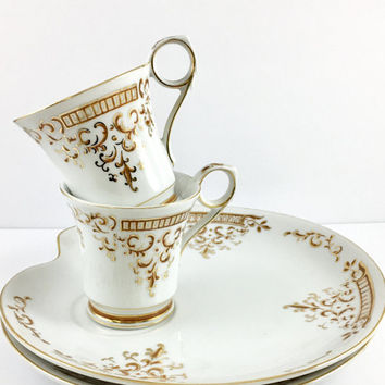 2 Dessert Snack Sets, Vintage Tea Cups and Plates, Rust, China Teacup Set Retro Luncheon Set, Tea for Two, Bridal Shower/Wedding Gift