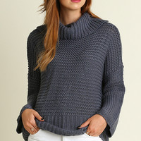 Gray Chunky Turtleneck Sweater