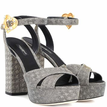 Crystal-embellished plateau sandals