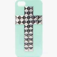 Contrast Studded Cross Phone Case