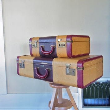 vintage suitcase set pair of nesting suitcases stacking suitcases wedding card holder tweed striped suitcase old luggage 1940s 1950s