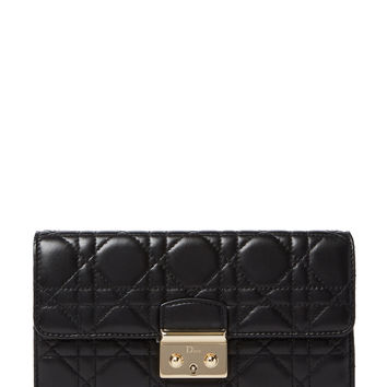 Christian Dior Women's Black Cannage Quilted Lambskin Miss Dior Wallet On Chain
