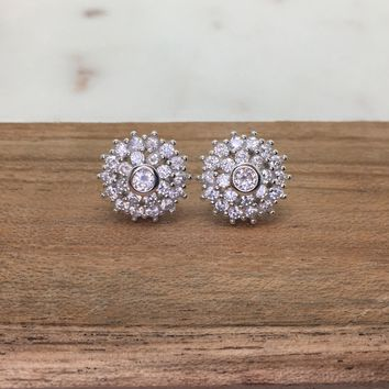 Halo with Baguette Diamond Simulant CZ Sterling Silver Stud Earrings