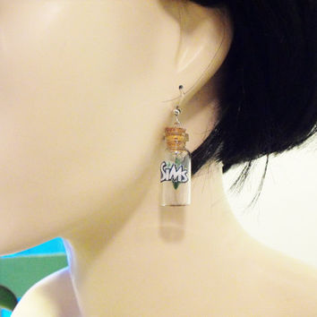 The Sims plumbob inspired earrings- your choice of label- miniature bottle with a hanging sims diamond inside