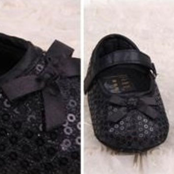 Baby Girl Infant Black Sequin and Bow Prewalker Dress Shoes with Velcro Strap