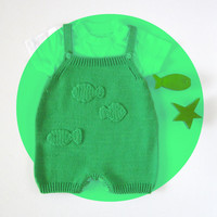 Knitted overalls in emerald green with crochet fishes. 100% cotton. READY TO SHIP size 1-3 months.