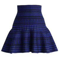 Check and Stripes Knitted Mini Skirt in Blue Blue S/M