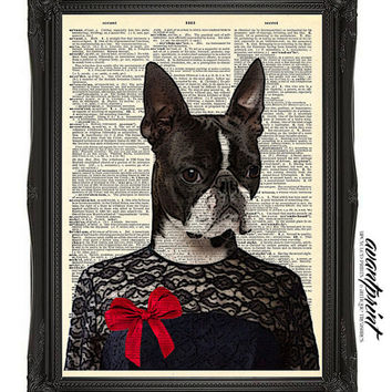 The Lady is a Terrier Original Collage Art Print on an Unframed Upcycled Bookpage