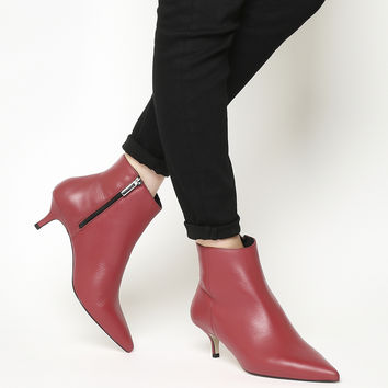 Office Alibi Kitten Heel Boots Red Leather - Ankle Boots