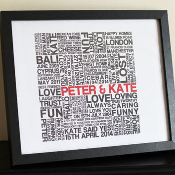 Personalised Word Art Couple/Engagement/Best Friends - Personalised Bespoke Word Art Print -  Customisable Typograpy - Unique Gift