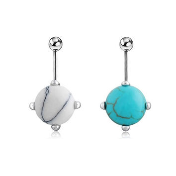 Fashion Turquoise Nail Navel Button Bar Ring Silver Plated Piercing Belly Dance Jewelry [9791256655]