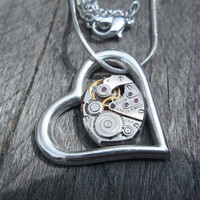 Clockpunk Pendant Necklace, Watch Movement in Silver Heart Pendant on Silver Snake Princess Chain