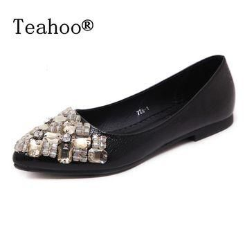 Rhinestone Flats Shoes Woman 2017 Dress Flats Female Ballet Shoes PLUS SIZE 34-43 Comf