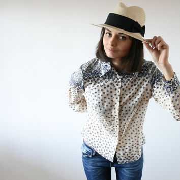 Small flower pattern shirt 80 s Cream shirt Flowers Degrade pattern (M)