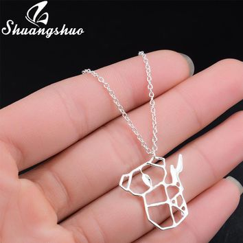 Shuangshuo Ethnic Origami Koala Necklace for Women Animal Necklace Choker Best Friend Necklace Necklaces & Pendants collares