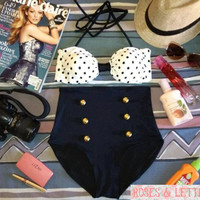 Kylie - Retro Vintage Pin Up Handmade Black White Polka Dot High Waist Bikini Swimsuit Swimwear