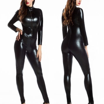 Women's Adult Costume Goth Punk PU Faux Leather Catsuit Teddy Zipperfront Playsuit fancy Party wear = 1932560964