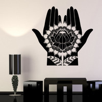 Vinyl Wall Decal Mehndi Decoration Beauty Girl Hands Henna Lotus Stickers (697ig)