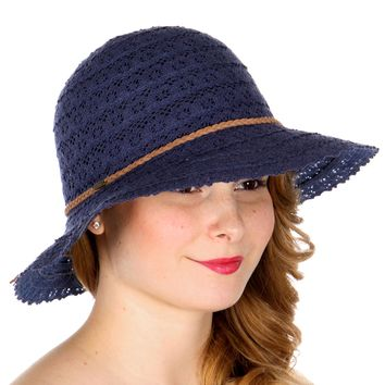 Navy Floral Crochet Sun Hat With Braided String Band