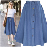 Button Denim Causal Skirt B0014939