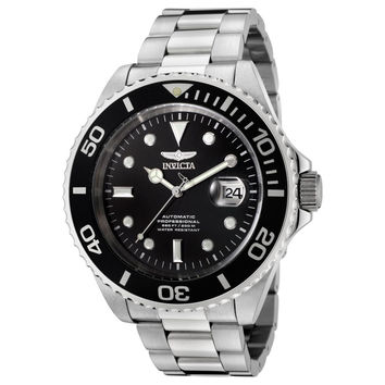 Invicta F0066 Men's Pro Diver Black Dial Stainless Steel Bracelet Automatic Dive Watch