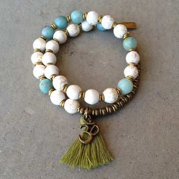 Calm and Confidence, Howlite and Amazonite 27 bead wrap mala bracelet™ with Om charm and tassel