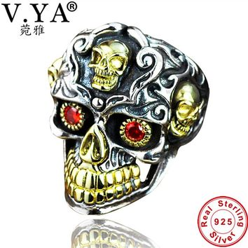 V.YA Real 925 Sterling Silver Skull Men Rings Super Cool Punk Style Thai Silver Big Size Ring With Red Stone Men's Jewelry