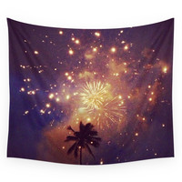 Society6 Palm Tree Fireworks Wall Tapestry