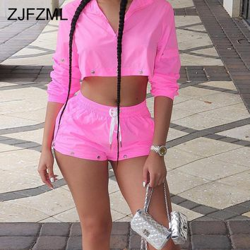 Neon Pink Sexy 2 Piece Set Tracksuit Women Front Zipper Long Sleeve Crop Top And Drswstring Short Sweatsuits Summer Club Outfits