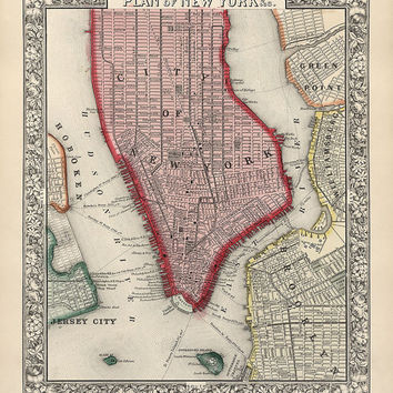 Antique Map of New York City (1863) - Archival Reproduction