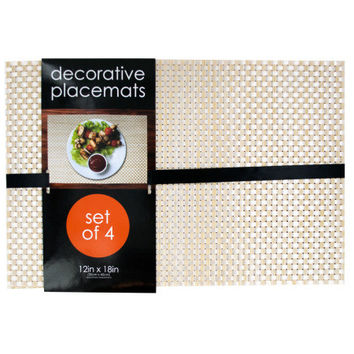Decorative Bamboo Look Woven Placemat Set ( Case of 1 )