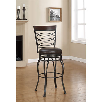 American Woodcrafters B1-103-26L Essex Charcoal Counter Stool with French Roast Bonded Leather Seat