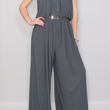 Womens jumpsuit Gray jumpsuit Wide leg jumpsuit Halter jumpsuit