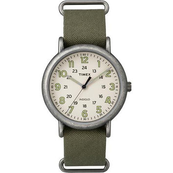 Timex Weekender&reg Oversized Watch - Tan Dial/Antique Chrome/Olive Strap