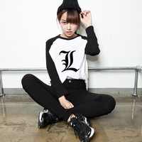 Japanese Death Note Bleach Tokyo Ghoul One Piece Naruto Letter Print Raglan Long Sleeve T-shirt  Tee Shirts Anime Clothes Manga