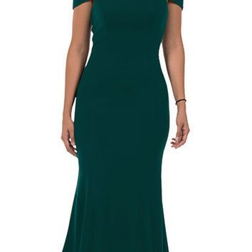 Green Off-the-Shoulder Mermaid Style Evening Gown
