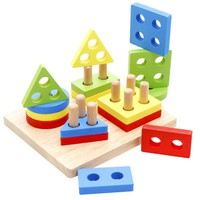 VONC1Y Early childhood children's educational toys wooden pole geometry shape intellige learning tools Toys & Games