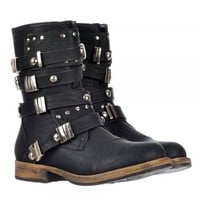 Dolcis Military Style Ankle Biker Boot - Metal Studded Buckle - Black, Brown - Dolcis from Onlineshoe UK