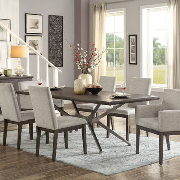 Home Elegance HE-5581-84-7PC 7 pc Ibiza oak finish wood stainless steel base dining table set (CLONE)