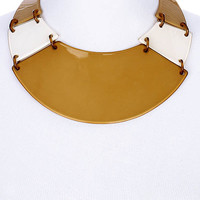 NECKLACE / COLLAR / LINK / BRASS / LUCITE / 2 3/4 INCH DROP / 12 INCH LONG / NICKEL AND LEAD COMPLIANT