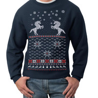 Ugly Christmas sweater -- Christmas Unicorn -- pullover sweatshirt -- s m l xl xxl xxxl