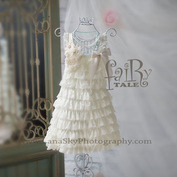 Dress ONLY.  Flower girl lace dress, Shabby chic flower set, ivory ,full wedding baby outfit, holiday clothing, baby lace dress