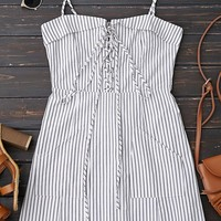 Lace Up Stripes Mini Dress with Two Pockets