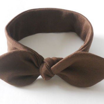 Brown Knotted Baby Headband, Infant Headband, Newborn Headband, Soft Headband, Jersey Knit Headband Baby, Fabric Headband, Photo Prop